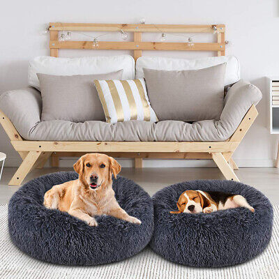 Pet Dogs Cats Calming Marshmallow Bed Plush Round Nest Donut Kennel Cave Cuddler