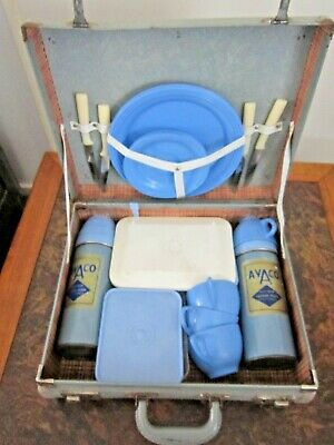 Vintage Blue Travel Picnic Set in Suitcase Made in Australia by Avaco