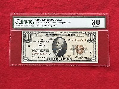 FR-1860K KEY 1929 Series $10 Dallas Federal Reserve Bank Note *PMG 30 Very Fine*