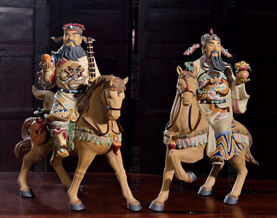 "14"" Chinese Shiwan Pottery Porcelain Dragon Wealth Mammon Money God Horse Pair"