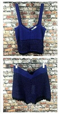 Zara Limited Edition Matching Co Ord Set Crop Top & Shorts Purple Bloggers BNWT
