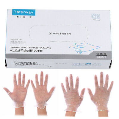 50X/100X Disposable Clear Vinyl Gloves Powder & Latex Free Cleaning NEW