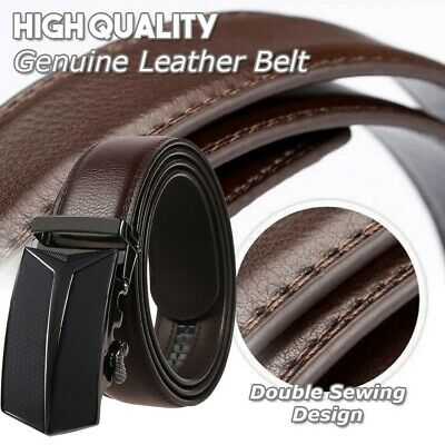 "Men/'s belt Automatic lock Slide Ratchet Belt Buckle BN 34/"" Leather Dress Belt"