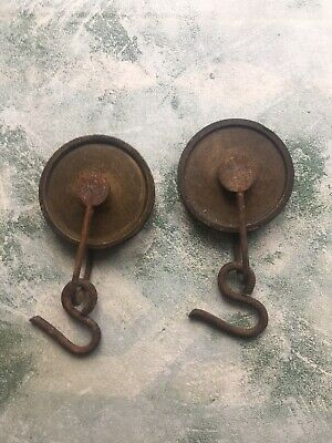 Antique Grandfather Longcase Pair Of Clock Pulleys