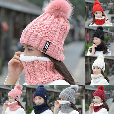 Fashion Men Women Knit Beanie Winter Hat Ski Cap Couple Hat + Scarf 2PCS/set
