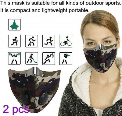 2PCS Fitness Mask Motorcycle Cycling Anti-Pollution Half Face Dust Mask Filter