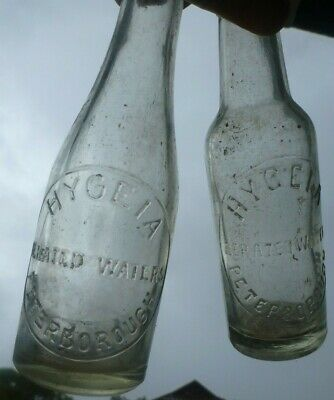6oz clear glass pair crown seals HYGEIA AERATED WATER PETERBOROUGH SOUTH AUST