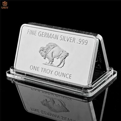 Bullion Germany Fine Silver .999 Mint 1 Troy Ounce Buffalo European Metal Bar w/