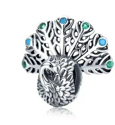🇬🇧💜💜925 Sterling Silver Peacock Blue & Green Cz Pendant Charm & Pouch