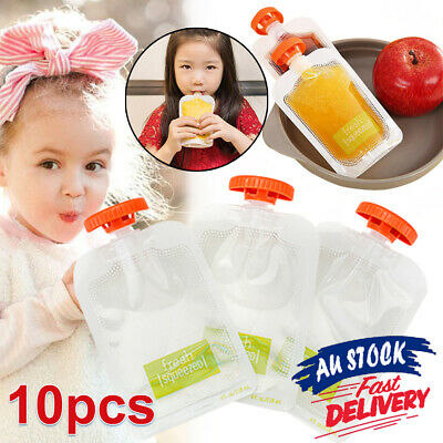 10pcs Station Squeeze Dispenser Baby Food Pouches Feeding DIY Kit Storage