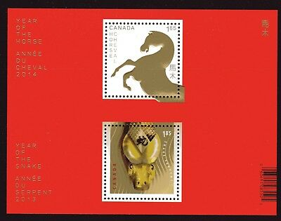 2014 Canada SC# 2700a Chinese New Year Transitional Horse,Snak S. S. Lot 93 M-NH