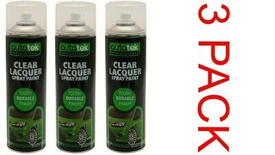 3x AUTOTEK Clear Lacquer 500ML Spray Paint Gloss HIGH COVERAGE     CLEAR LACQUER