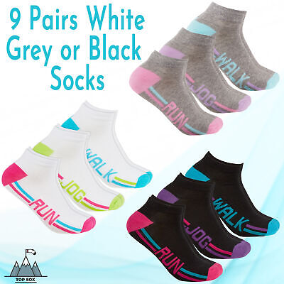 Womens Ladies 9 Pairs Trainer Liner Ankle Socks Walk Run Jog Gym Cotton Rich 4-8