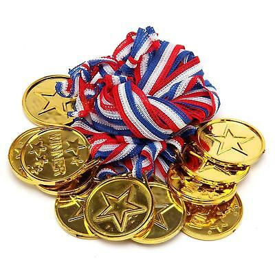 Brand New Set of 12 Gold Plastic Winner Medals Necklaces Sports Day Awards