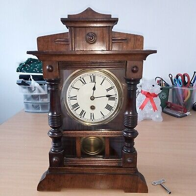 H A C 30 Hour Wooden Mantle Clock Timepiece
