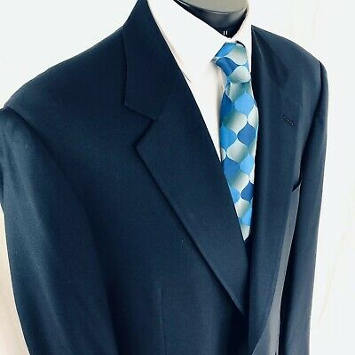 Brooks Brothers Navy Blue Blazer 46XL Gold Buttons Made In USA Hand Tailored