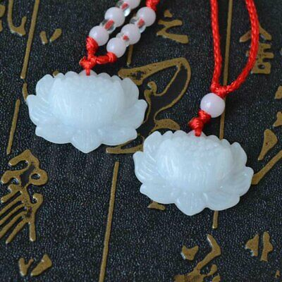 2pcs Jade Carved Lotus Flower Pendants Necklace Beads Rope Chain Lucky Amulet