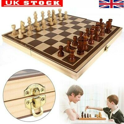 2 in 1 Folding Wooden Standard Chess Set Board Game Checkers Backgammon Toy UK