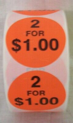 """Store Display Fixture 2500 NEW SELF ADHESIVE ROUND LABELS 2"""" 2 FOR $1.00"""