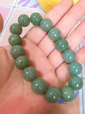 Untreated Burmese Jadeite Certified Grade A Icy Green Jade Beads Bracelet Bangle