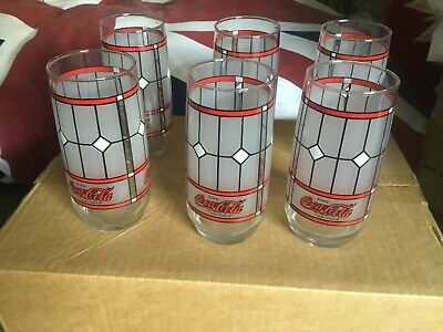 Set Of Six Coca Cola Tiffany Stained Glass Glasses