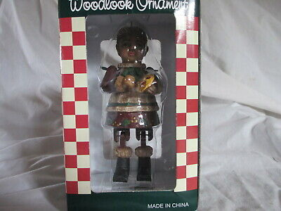 Folk Art Grandma Christmas Ornament jointed wooden figurine (Woodlook) NIB