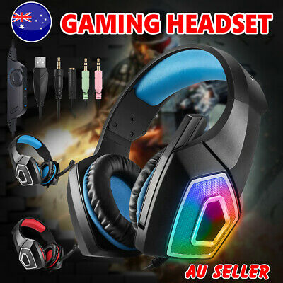 Stereo Bass Surround Gaming Headset LED Headphones for PS4 New Xbox One PC Mic