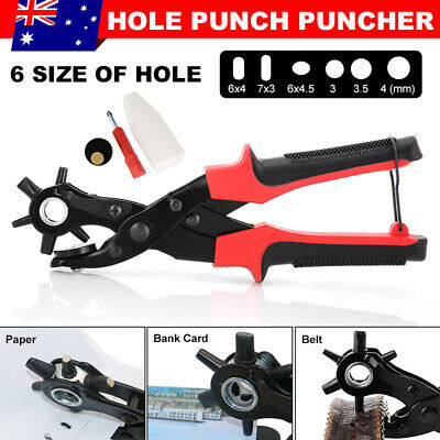Hand Held Leather Tools Revolving Belt Watch Strap Eyelet Hole Punch Puncher