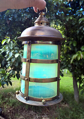 Antique Brass Bronze Vaseline Opalescent Lamp Glass Shade Lantern