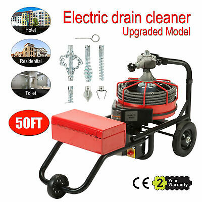 50FT*1/2'' Drain Auger Pipe Cleaner Cleaning Machine Convenient W/Foot Switch