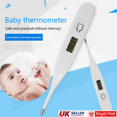 Digital Thermometer Medical LCD Display Oral Ear Underarm Audible Fever Alarm'UK