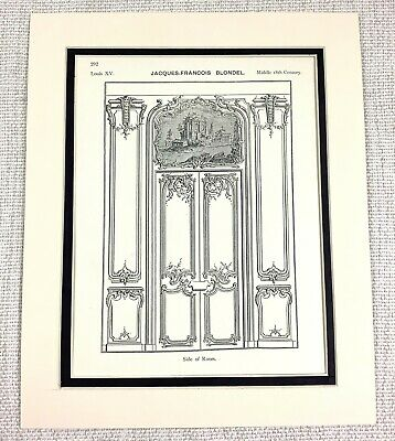 1903 Antique Print French Louis XV Ornate Carved Paneling Chateau Door BLONDEL