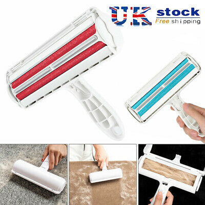 UK Sofa Clothes Dog Cat Pet Hair Remover Fur Roller Lint Cleaning Brush Reusable