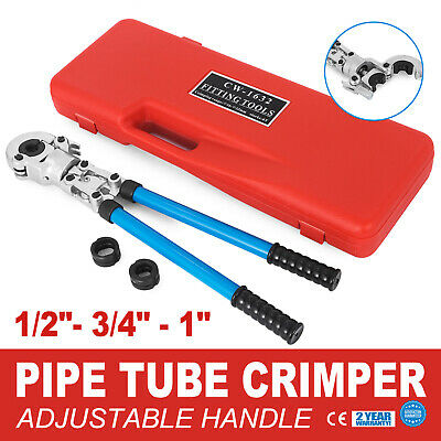 "Pex Crimper Kit Copper Pipe Ring Crimping Plumbing Tool 1/2"" 3/4"" 1"" Dies"