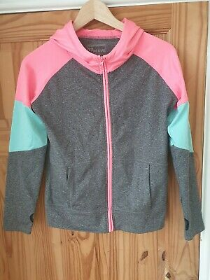 YD Active Young Dimensions Grey Pink Sports Hooded Jacket Uk 12/13yrs #Box 46
