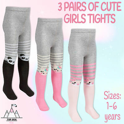 Infants Toddlers Girls 3 Pairs Design Tights Cotton Rich Panda Unicorn Cat Tails