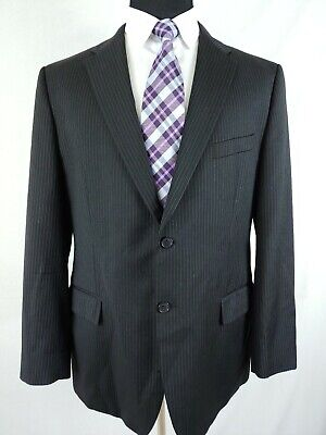 Joseph Abboud Black Loro Piana Wool Mens Black Pinstripe 2 Button Suit 44R 38x31