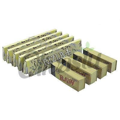 5 x Rizla Hemp King Size Slim Organic Rolling Papers + 4 x Raw Filter Tips Roach
