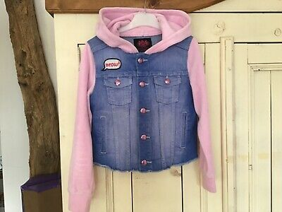 Girls Blue Denim & Pink Velour Hooded 'Cat' Jacket by Juicy Couture, Age 8