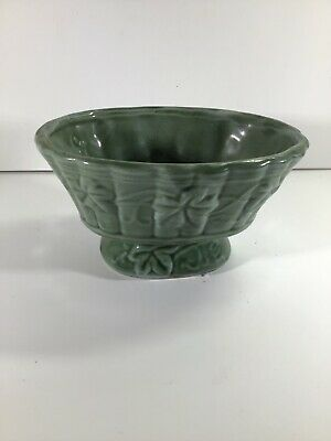 """Vintage Green Pottery Planter with Raised Ivy Design 4"""" Tall"""