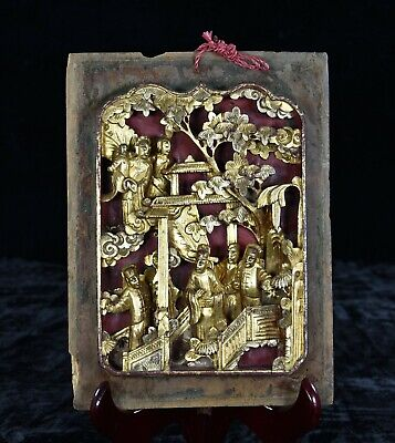 Antique Chinese Red & Gilt Wooden Deep Carved Panel