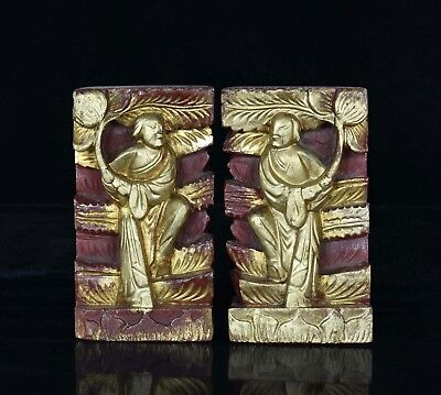 Pair of Antique Chinese Red & Gilded Wooden Carving
