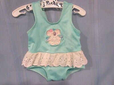 vintage baby swimsuit girls aqua blue with ruffle and koala decal 0-3 ms.