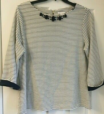 Charter Club Womens Blue Stripe Embellished 3/4 Sleeve Shirt Top Xl