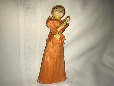 folk art corn husk mother and baby 8 1/2""