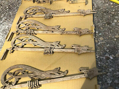 4 Vintage Victorian Art Deco Ornate Swing Arm Curtain Rods & Brackets 17-32 In