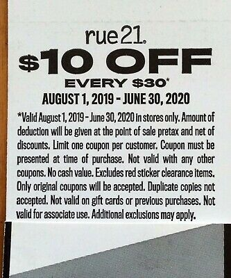$10.00 off $30.00 rue 21 / rue21 in-store coupon expires June 30, 2020 6/30/20