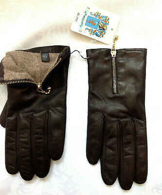 $199 PORTOLANO Brown Nappa Leather /Cashmere Linning SHORT Zippered Gloves* 7.5