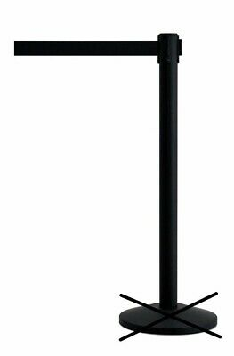Store Display Fixtures BLACK STANCHION WITH RETRACTABLE BLACK BELT