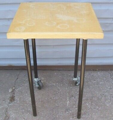 "Store Display Fixtures SQUARE OAK DISPLAY TABLE WITH ROLLERS 34"" tall"